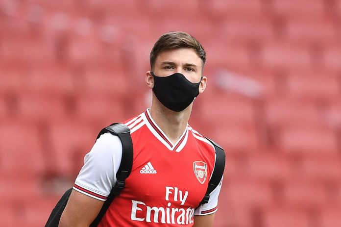 Kieran Tierney wearing a mask before the game