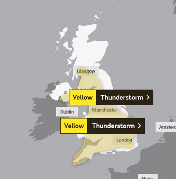 Met Office issued severe weather warning for most of the UK Wednesday and Thursday