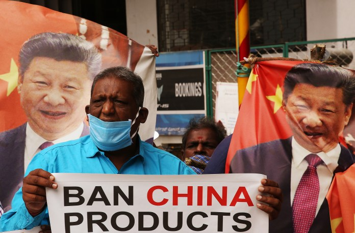 Protesters Call for Ban on Chinese Products in India
