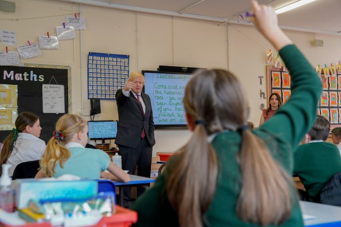 Boris Johnson, responded to questions from students at Bovingdon Primary Academy
