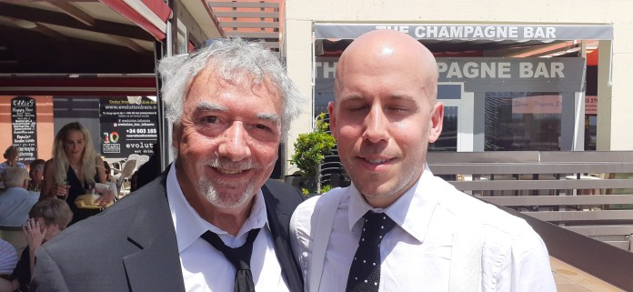 John Virgo (L), seen with one of the sons of Willie Thorne, read a eulogy at the service