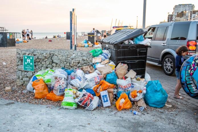 Lots of rubbish left in trash in Brighton