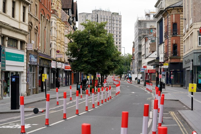 A deserted city centre in Leicester after the local lockdown announcement