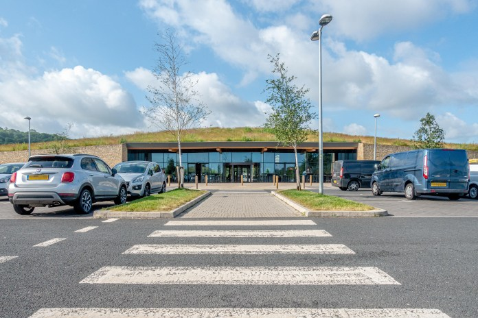 The new Gloucester motorway service station on the southbound M5 motorway in the UK with green roof