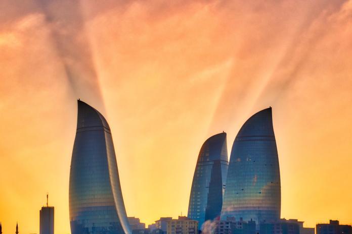 The famous flame towers in Baku, Azerbaijan