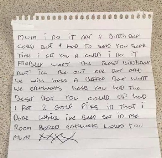 The letter in which he moans about being bored in prison
