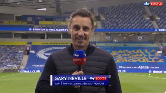 Gary Neville did not wear a BLM badge during the Manchester United - Brighton match