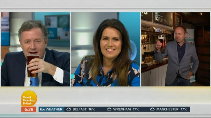 Piers, Susanna Reid and Jonathan Swaine teased the opening of pubs on Saturday