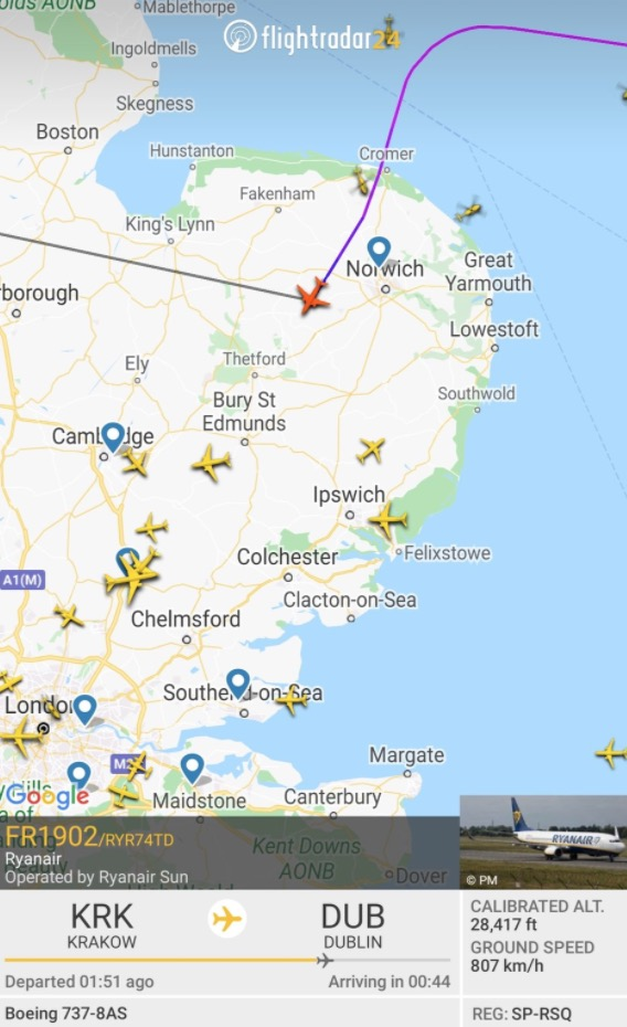 Flight Radar shows the scene tonight when fighter planes were scrambled to help the plane