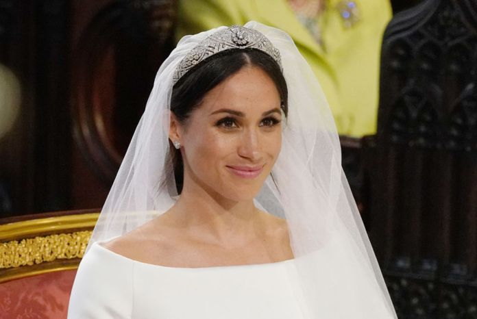 Meghan Markle pictured on her wedding day wearing Queen Mary's 1932 tiara