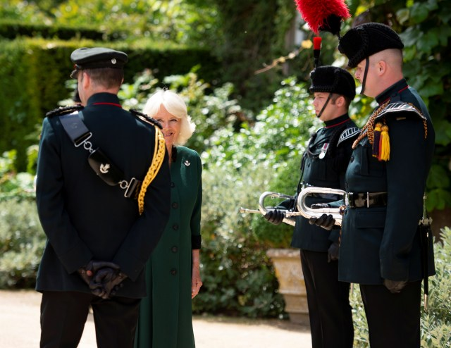 Camilla met the buglers and a small party from 4th Battalion The Rifles