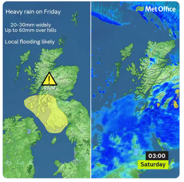 Between 35 and 50 mm of rain should fall in just 24 hours, the heaviest falling Friday evening