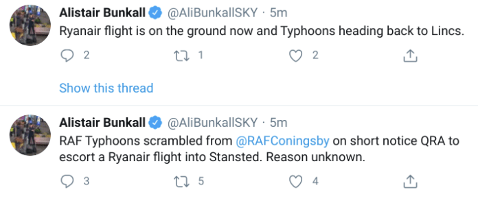 Sky News correspondent Alistair Bunkall said the Typhoons have now left Stansted after escorting the Ryanair flight