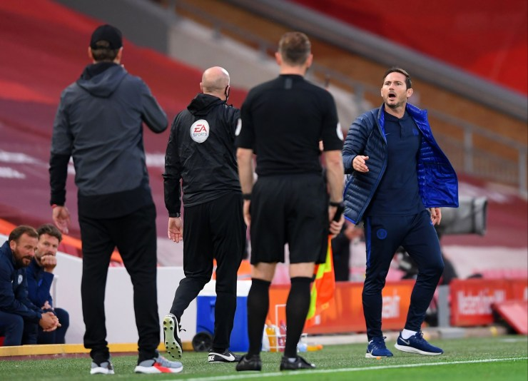 Lampard and Klopp were involved in a heated exchange
