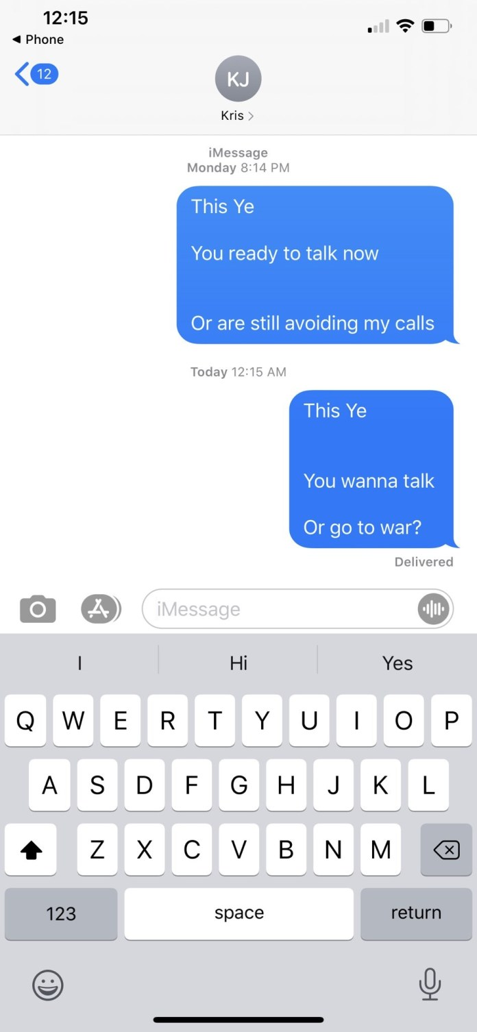 Compartió una captura de pantalla de sus mensajes a Kris Jenner