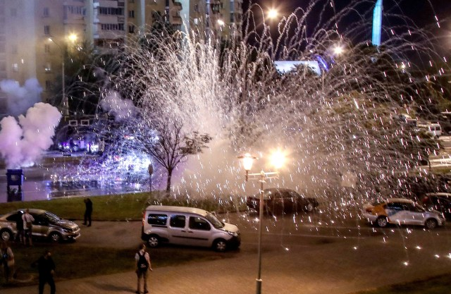 Police used stun grenades to try to disperse the demonstrators