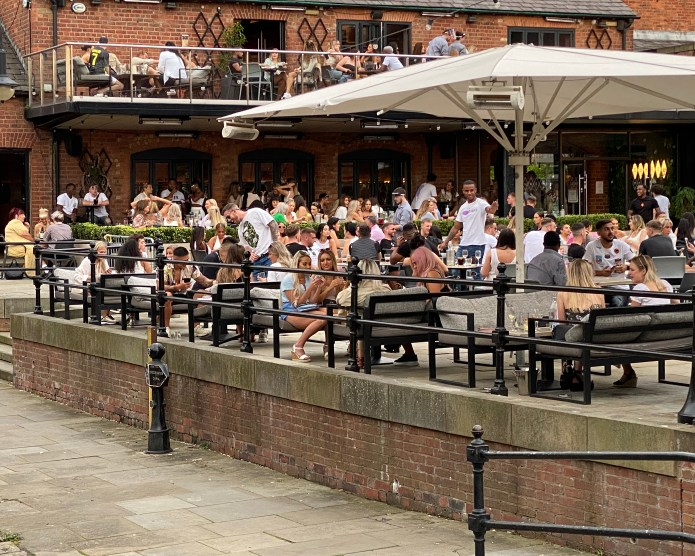 Manchester city center bars were busy on Friday night