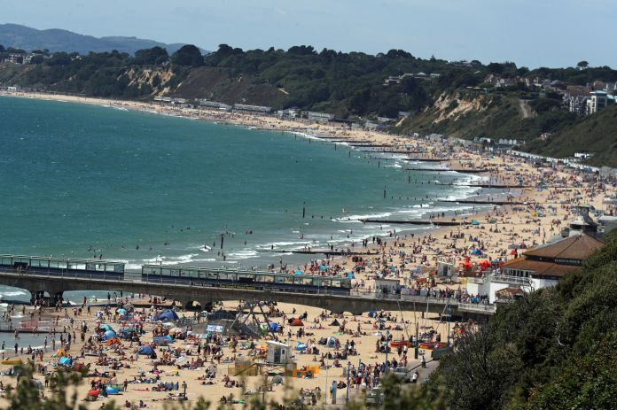 Bournemouth beach looks busy amid the hot weather