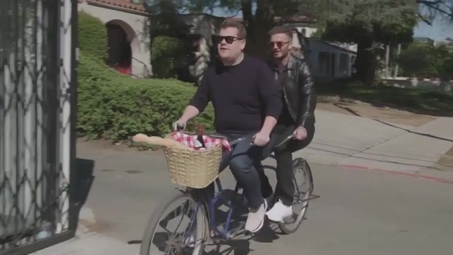 The pair also rode a tandem in a sketch for James Corden's show