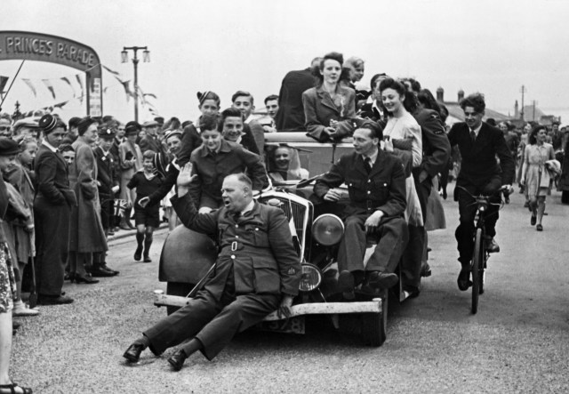 In party mode in Bridlington, East Yorkshire, at the end of the Second World War, August 1945