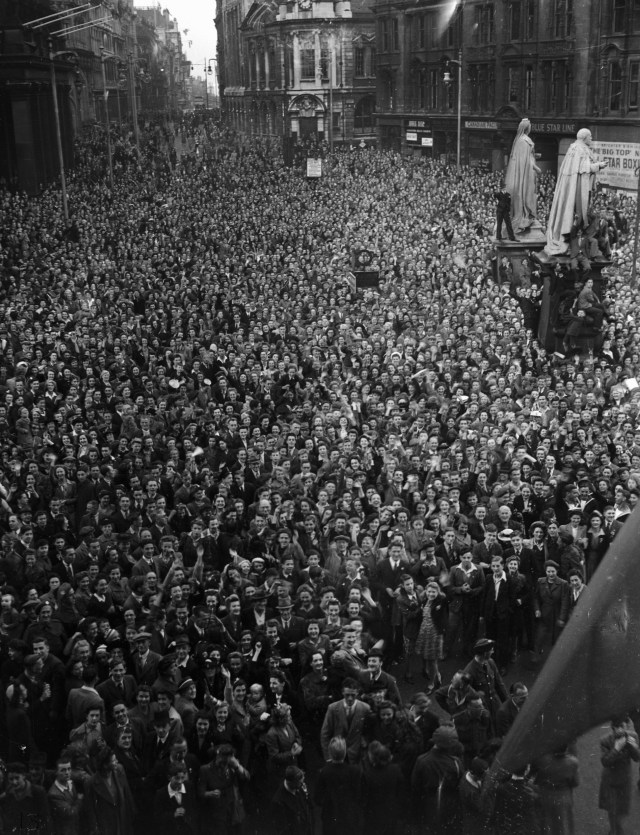Thousands of revellers packed into Victoria Square, Birmingham to celebrate VJ Day with gusto