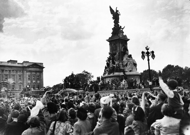 It was a similar scene in London, where crowds crammed around Buckingham Palace and the Queen Victoria memorial