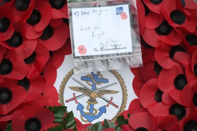 A wreath laid by Defence Secretary Ben Wallace at the Cenotaph, Whitehall, London