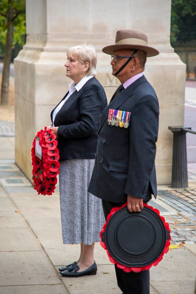 Baroness Goldie, Minister of State for Defence, and Major Mani Rai MBE laying wreaths at the Commonwealth Memorial Gates in London