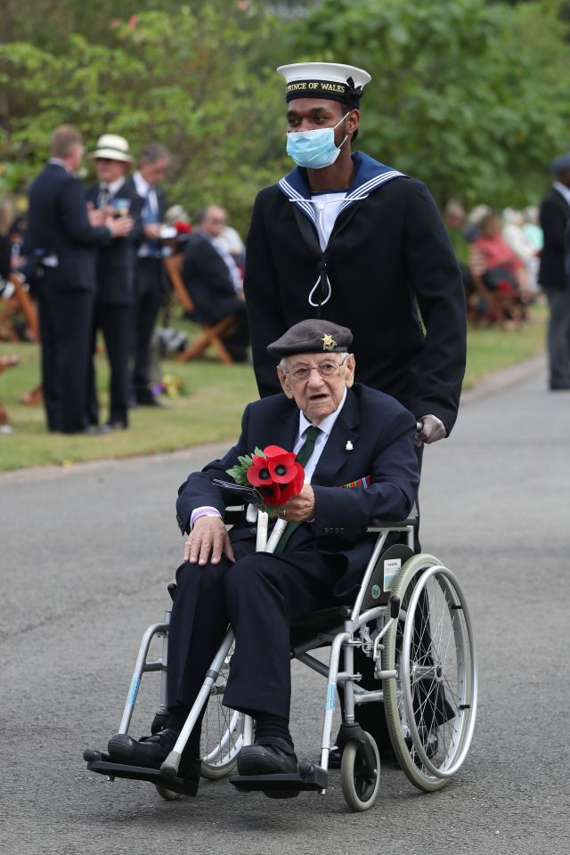 Veterans arrive to attend the national service of remembrance marking the 75th anniversary of VJ Day in Staffordshire