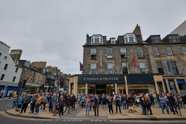 Hundreds of people gathered on Princes Street to see the Red Arrows fly over Edinburgh Castle - but the flypast didn't happen because of low cloud