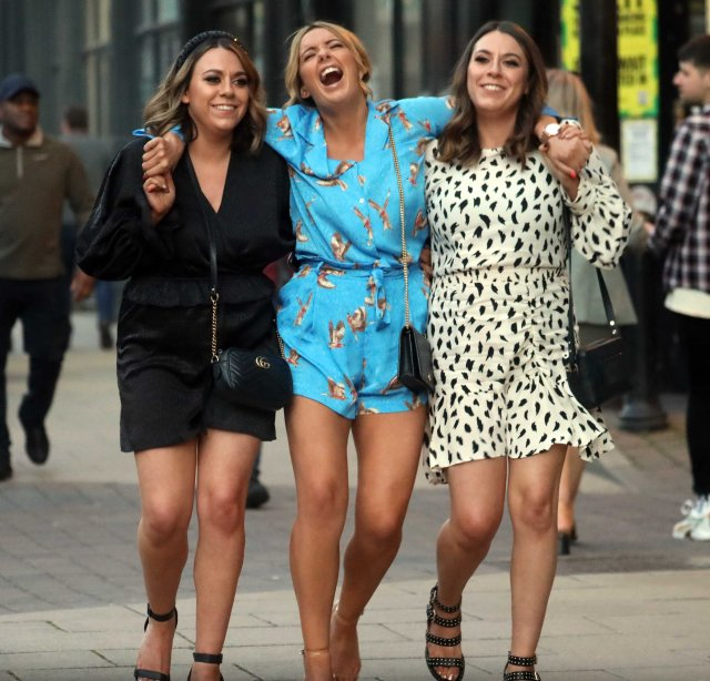 Party-goers making the most of the bank holiday weekend headed out in Leeds last night