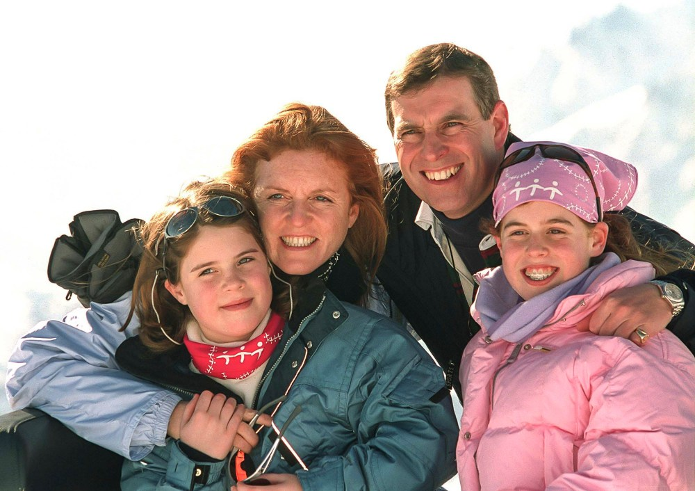 Eugenie, left, snapped with her parents and sister Beatrice on a skiing holiday in 2001
