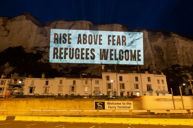 They wrote 'Rise above fear, Refugees welcome'