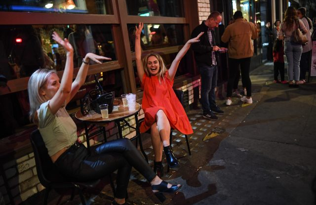 Drinkers enjoyed a night out in Soho in central London