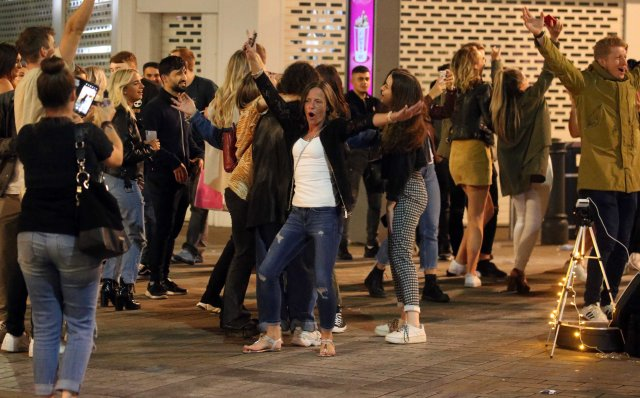 Party-goers let their hair down in the city for one last hoorah before Monday