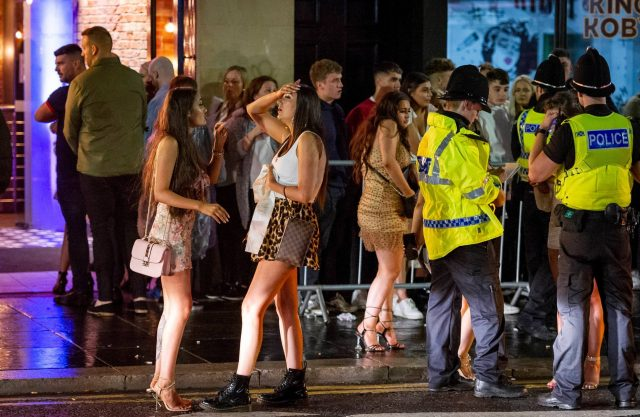 Groups of revellers spilled out of bars in Newcastle