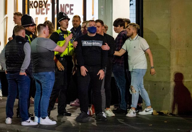 Cops tried to keep large groups in order in Newcastle