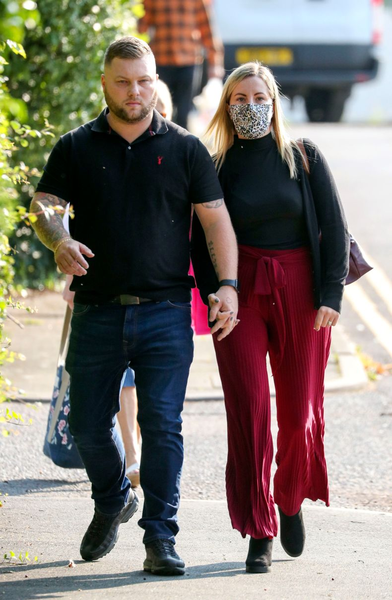 Barber, pictured with her husband Daniel, is on trial at Aylesbury Crown Court