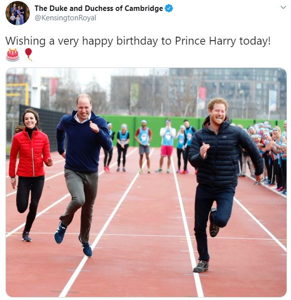 Kate Middleton and Prince William posted this photo from 2017 for Prince Harry's birthday
