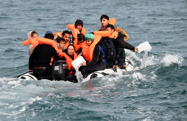Sixteen migrants from Afghanistan on board a dinghy which nearly sunk earlier this week