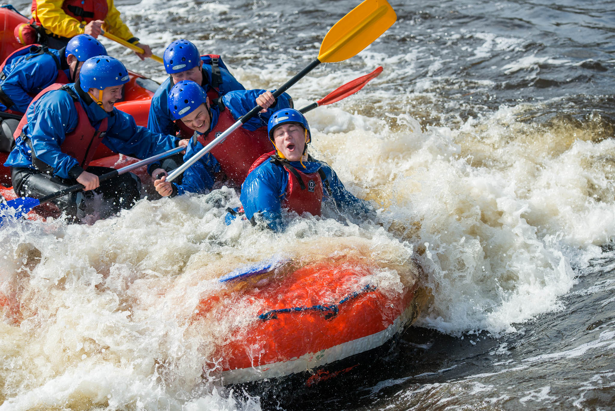 Navigate sharp twists and turns on the amazing white water rafting course at Tees Barrage