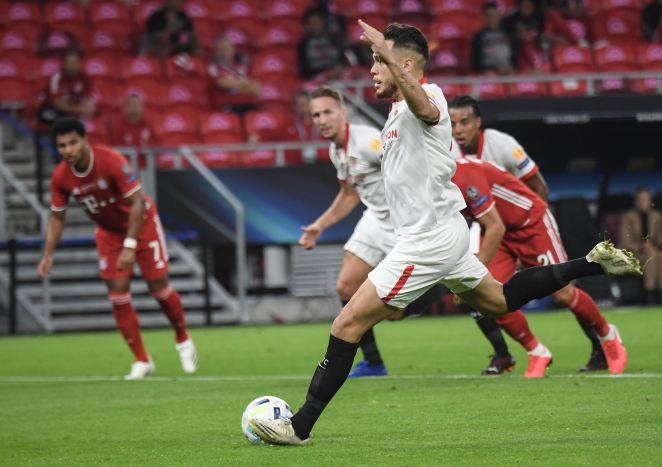 Lucas Ocampos slotted home his no-look penalty to give Sevilla an early lead