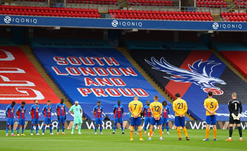 Crystal Palace and Everton pay tribute with a minute's silence at Selhurst Park