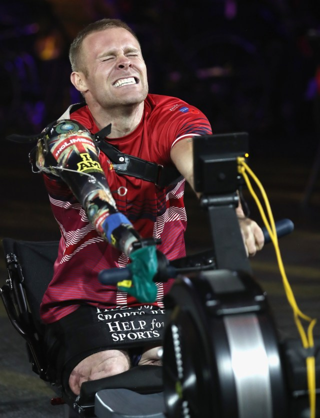 Mark competes in the indoor rowing competition during the Invictus Games 2017