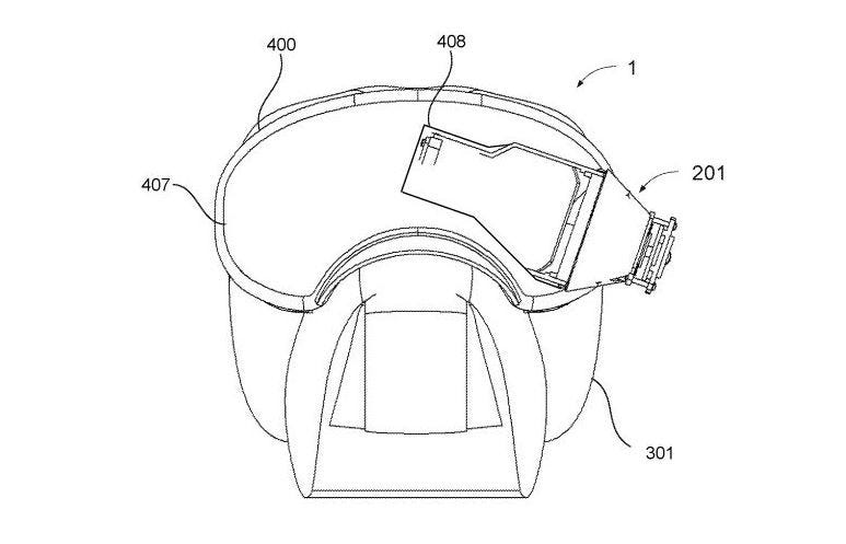 A view of the head-mounted display from a recent patent filing