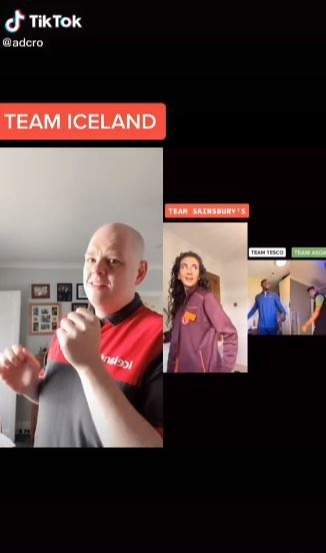 Team Iceland tried to get involved then realised he couldn't dance
