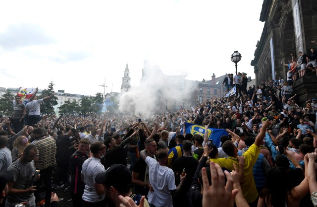 Leeds supporters flooded the streets to celebrate their return to the top flight after 17 years away