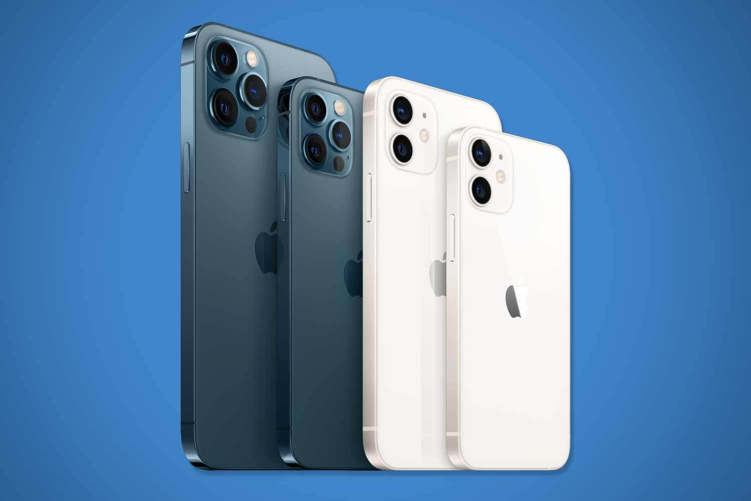 The iPhone 12 Pro Max (far left) and the iPhone Mini (far right) go on sale worldwide on November 6. The iPhone 12 Pro (centre left) and iPhone 12 (centre right) hit shelves across the globe last month