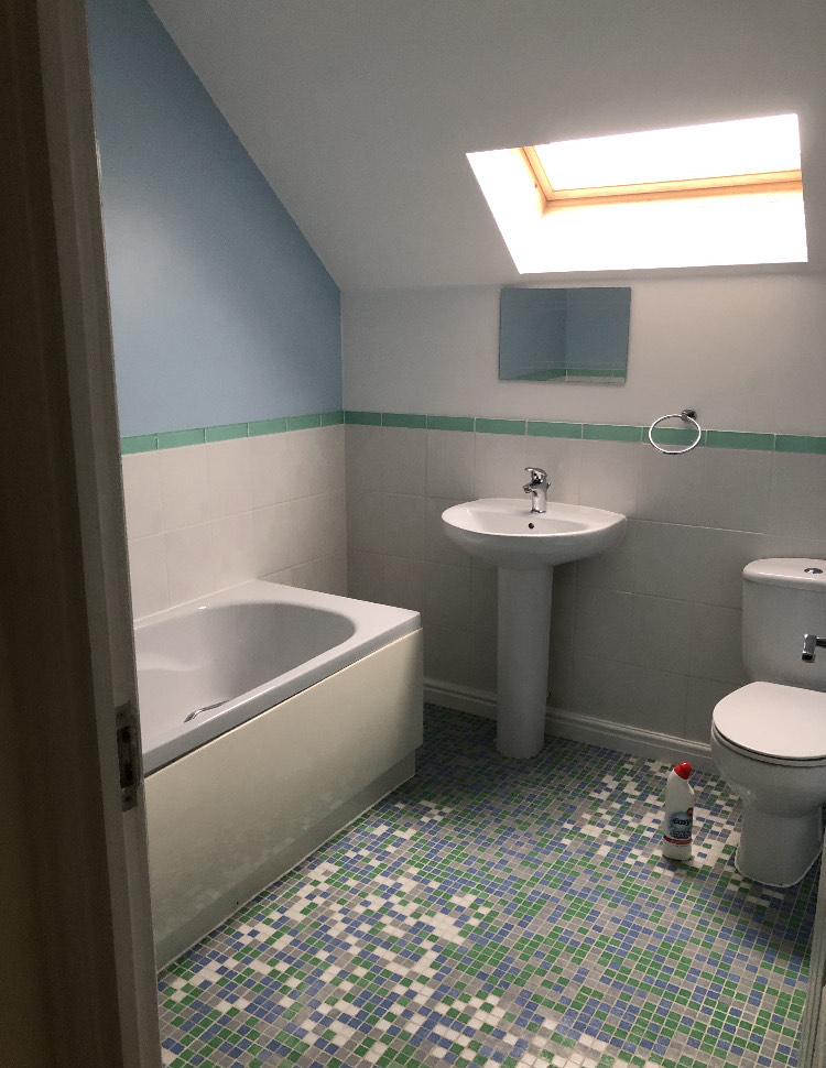 The builder is planning to turn this bathroom into a bedroom for his daughter