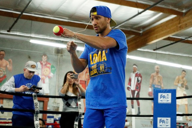 Lomachenko's training methods are unusual, including punching a ball attached to a baseball cap